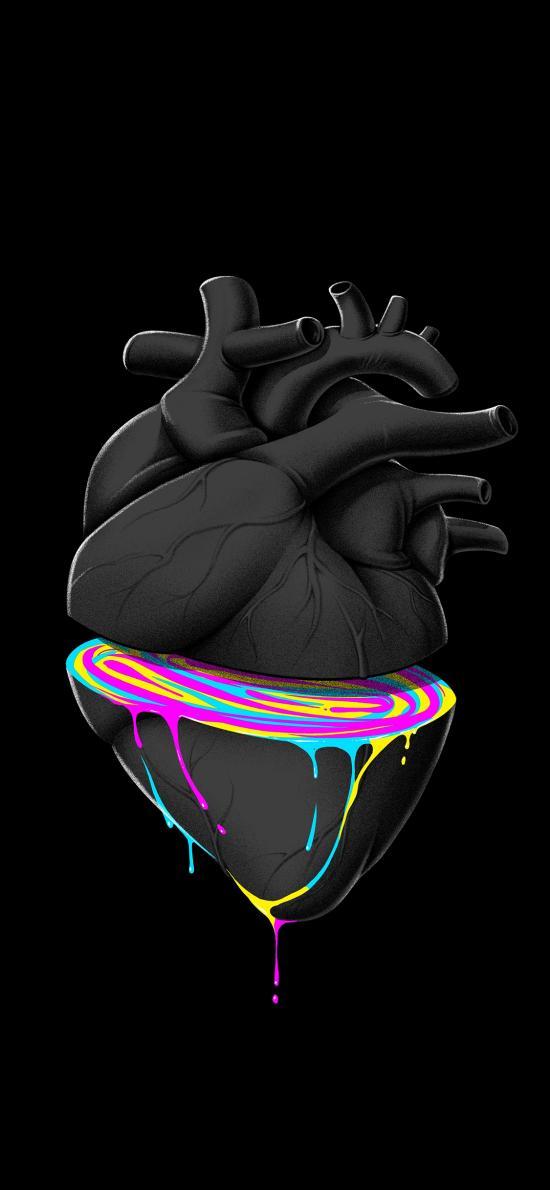 心脏 切半 五彩斑斓 黑