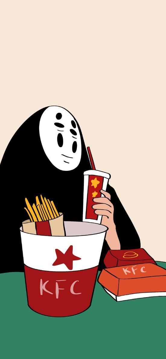 无脸男 千与千寻 宫崎骏 薯条 肯德基 KFC 可乐