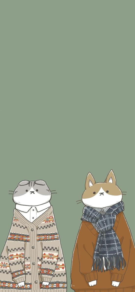 蓝色背景 卡通 猫咪