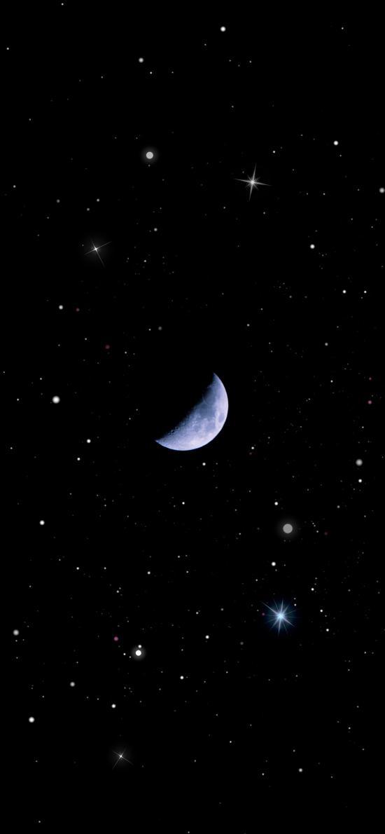 夜空 星空 月亮 星星 黑色