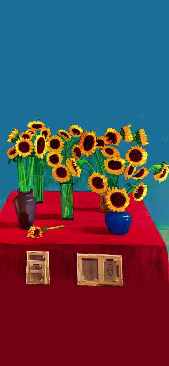 插画 向日葵 色彩 画师:大卫·霍克尼