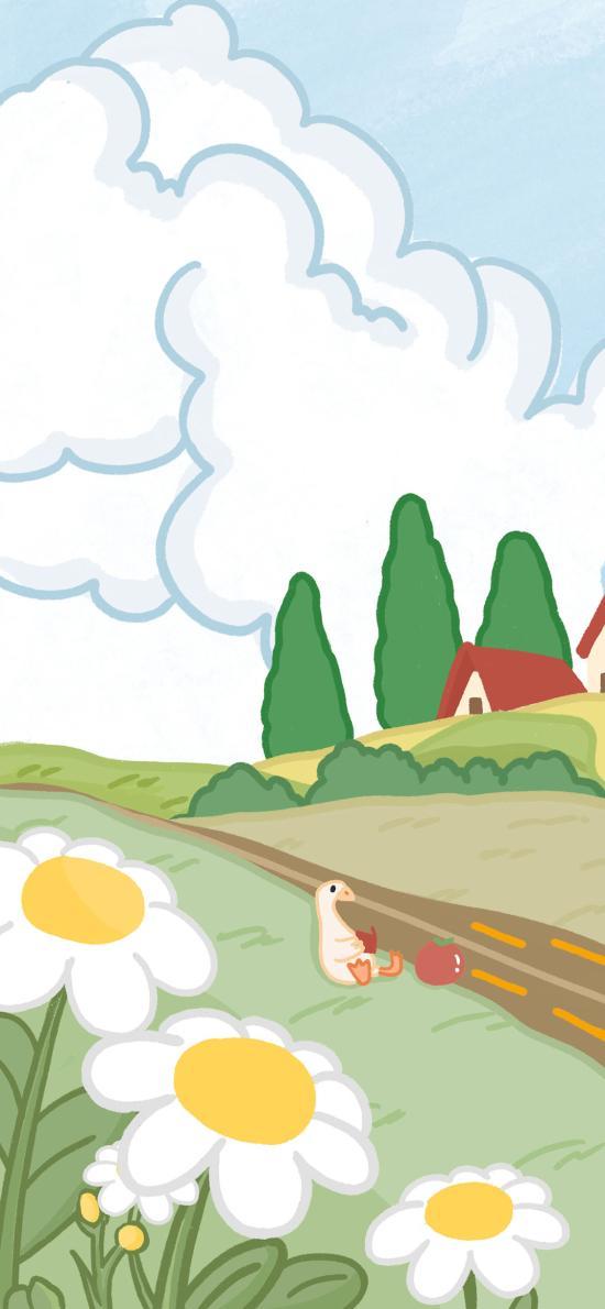 卡通 插图 风景 鸭子