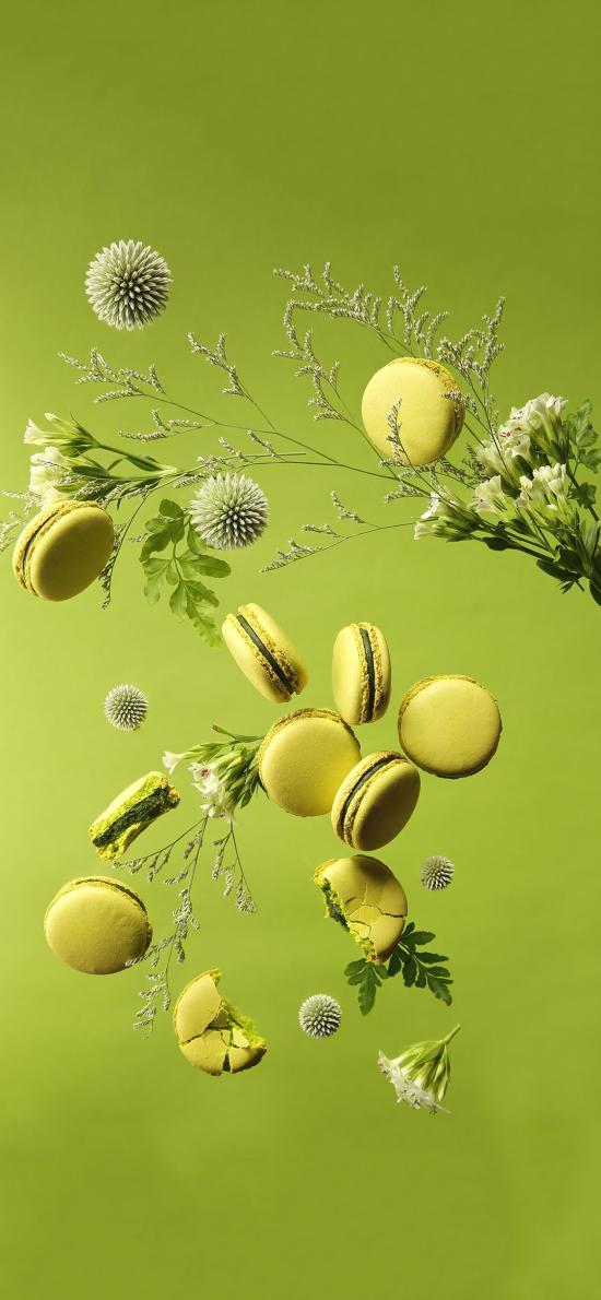烘焙 甜品 马卡龙 绿色 鲜花