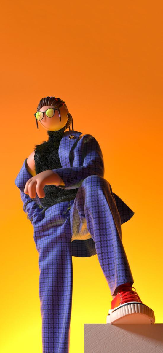摆件 3D 人物 西装 造型