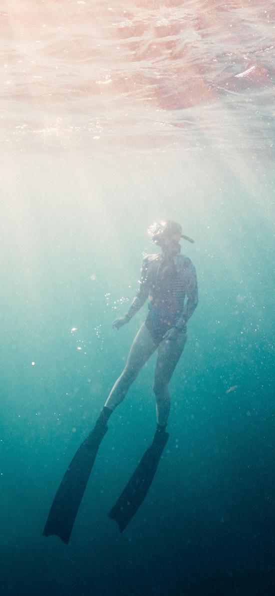 大海 潜水 光线 浮潜