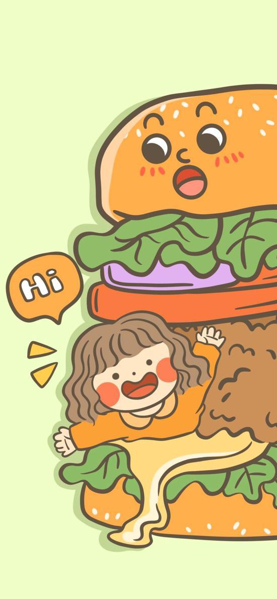 女孩 汉堡 插画 可爱 hi