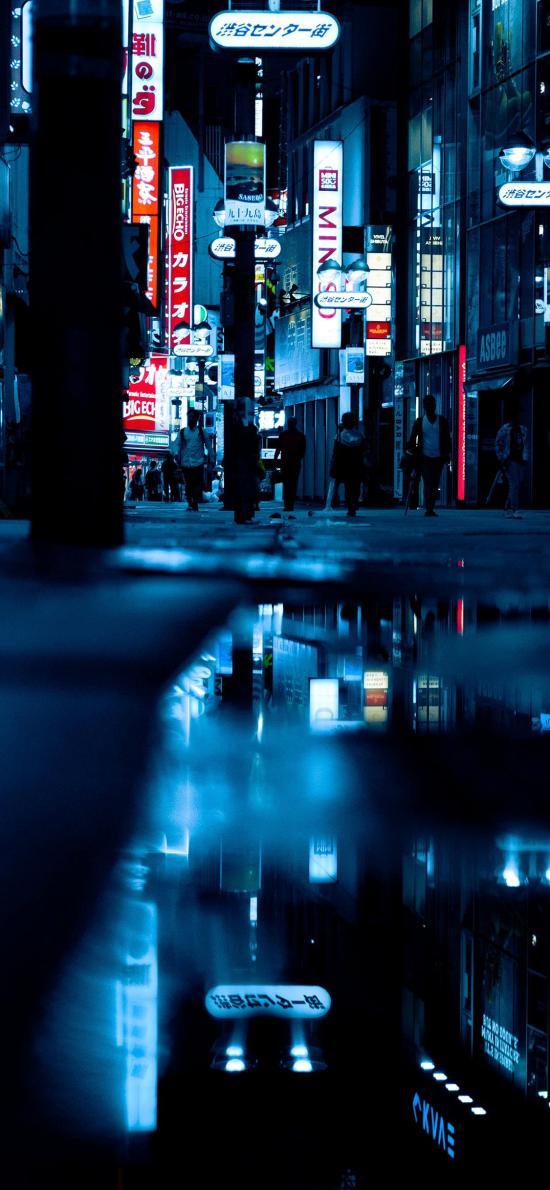 倒影 城市 夜晚 街道 建筑