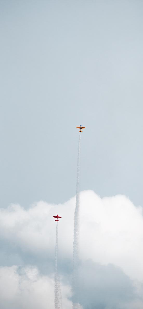 飞机 飞行 航空 烟雾 天空