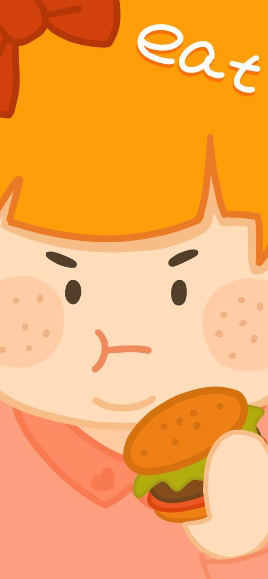 吃 肥胖 女孩 卡通 情侣 汉堡