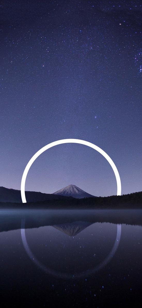 星空 夜景 山峰 湖泊 光圈