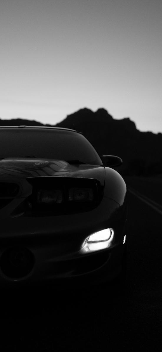 跑车 汽车 黑色 车灯