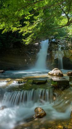 郊外 瀑布 河流 石头