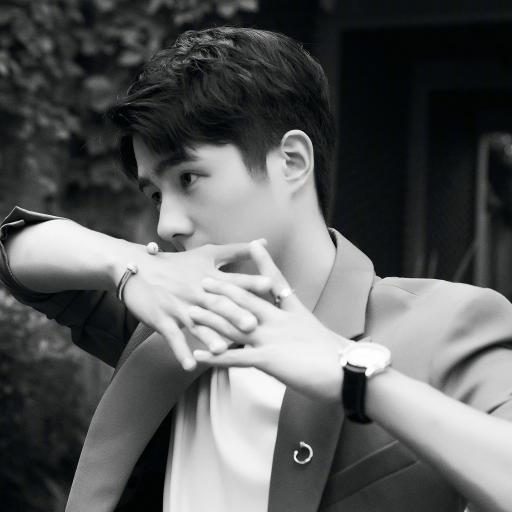 刘昊然 演员 明星 艺人 黑白照