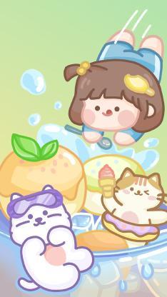 肉肉酱 狗 猫咪 冰淇淋 跳水