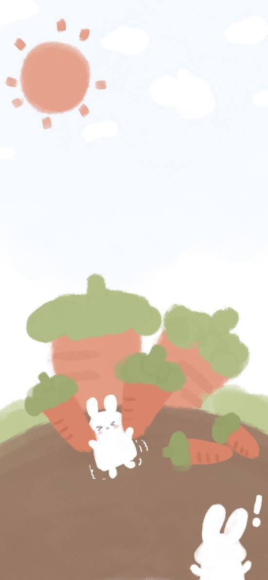插画 小兔子 胡萝卜 太阳