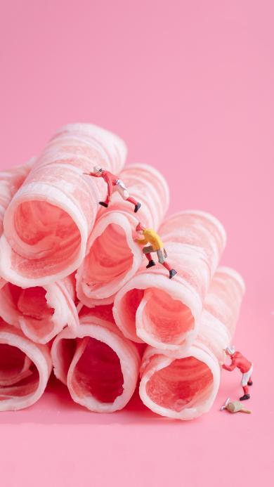 攀登 肉片 粉色 人物 爬山