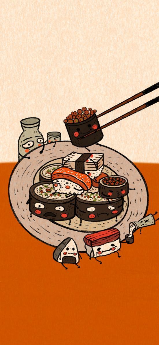 插画 寿司 表情 趣味