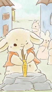 插画 兔子 胡萝卜 可爱