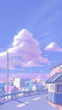 马路 紫色 漫画 房屋 指示牌