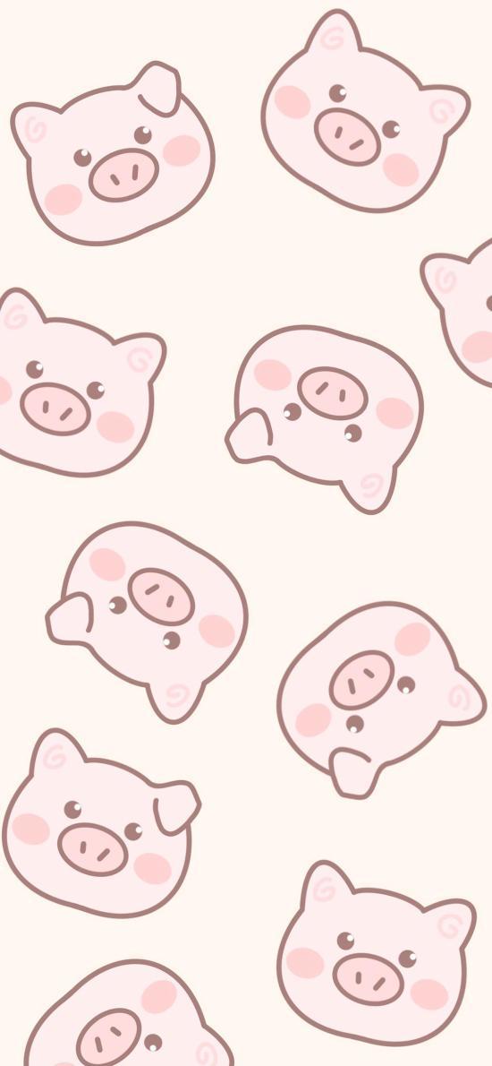 猪 粉色 平铺 卡通