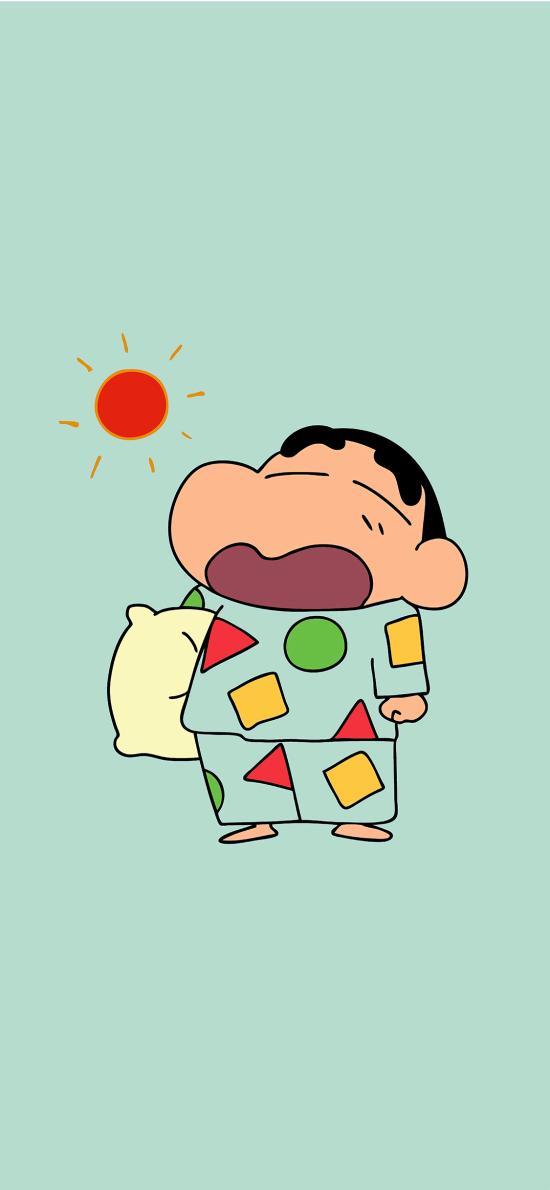 蜡笔小新 太阳 起床 睡衣 打哈欠 日本