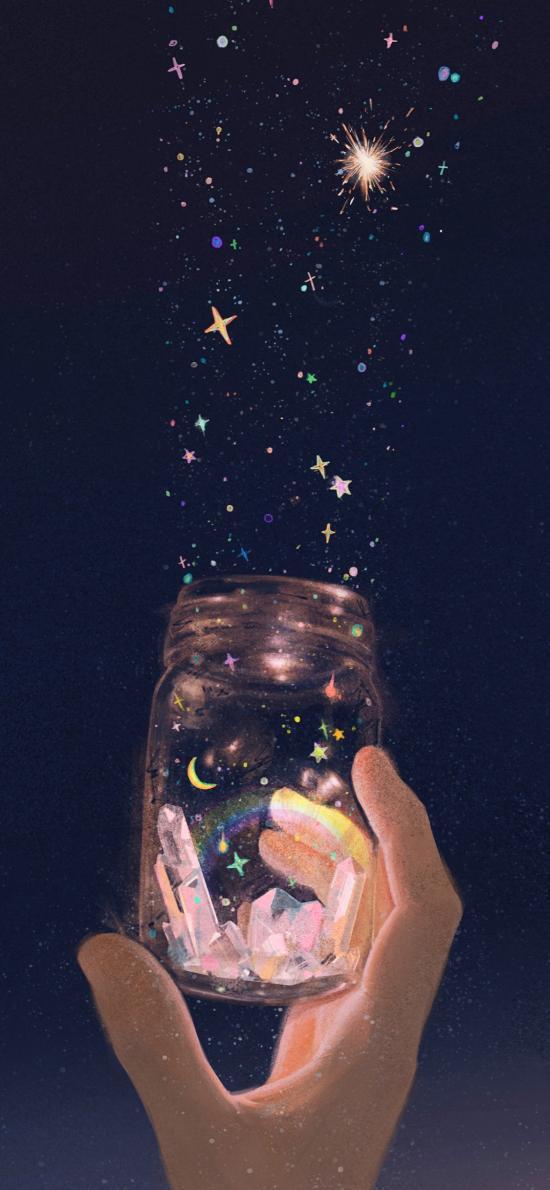 星光 插画 玻璃瓶 月亮 彩虹 晶石