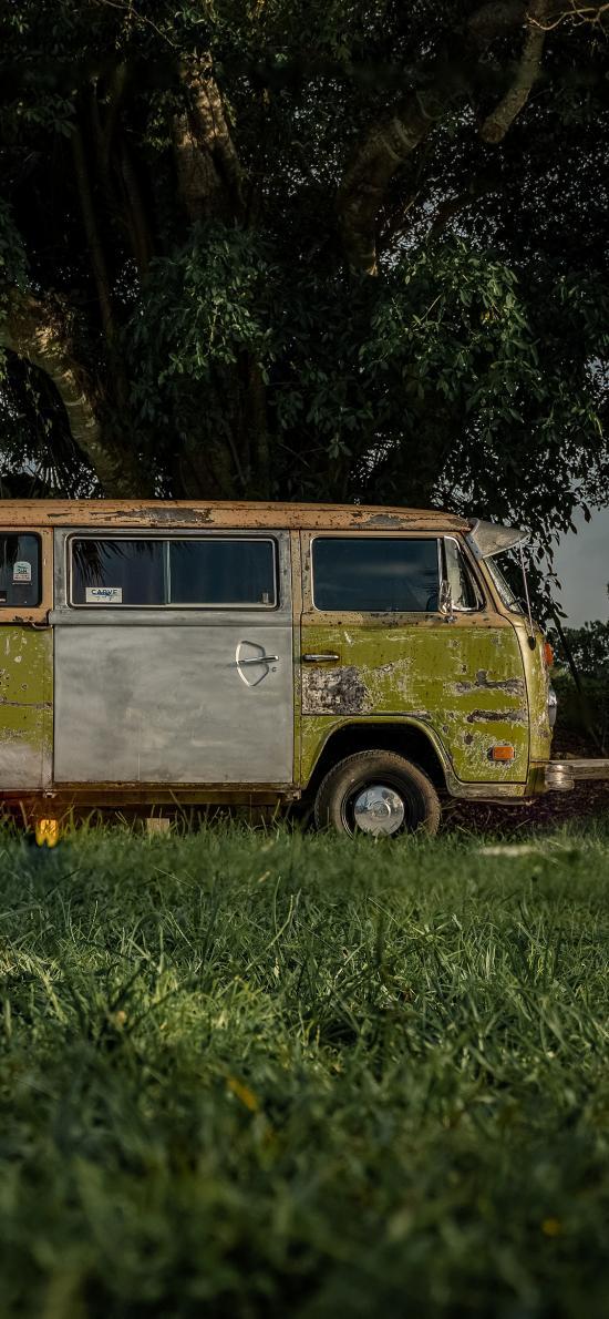 庭院 草地 小巴车 荒废