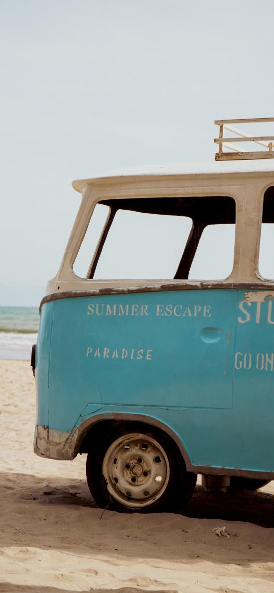 郊外 小巴士 小汽车 沙滩