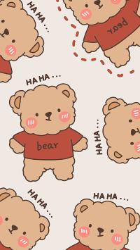 HA HA 小熊 bear 平铺 卡通 哈哈