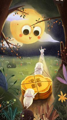 中秋节 传统佳节 插画 兔子 月饼 月亮