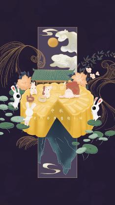 中秋节 传统佳节 插画 月亮 月饼 兔子