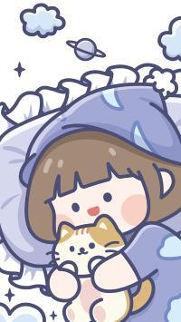 肉肉酱 小女孩 睡觉 被窝 猫咪