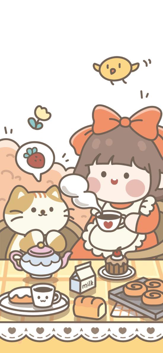 肉肉酱 小女孩 下午茶 咖啡 面包