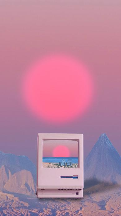屏幕 太阳 粉色 电脑 躺椅