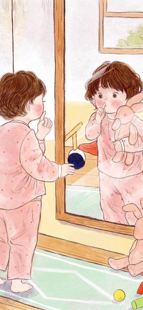嘘 小女孩 镜子 兔娃娃 插画 彩铅