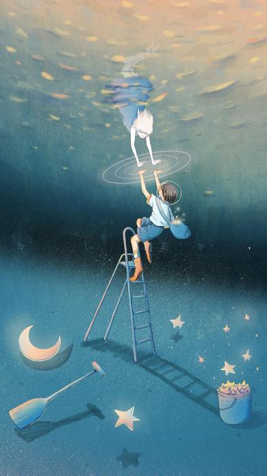 插画 星河 文艺 月亮