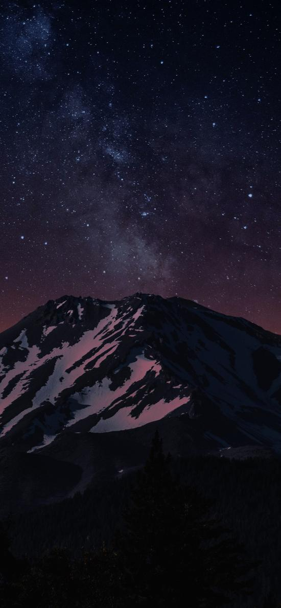 星空 夜景 山峰 白雪