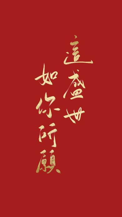 这盛世如你所愿 红色 书法 繁体字