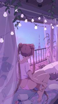 美少女战士 紫色 背影 漫画 灯泡 性感