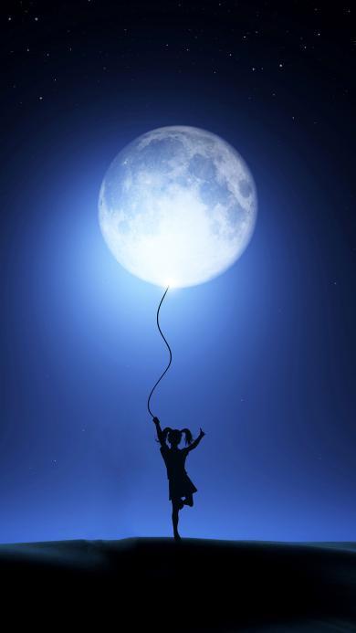 月球 月亮 气球 女孩 剪影 星空