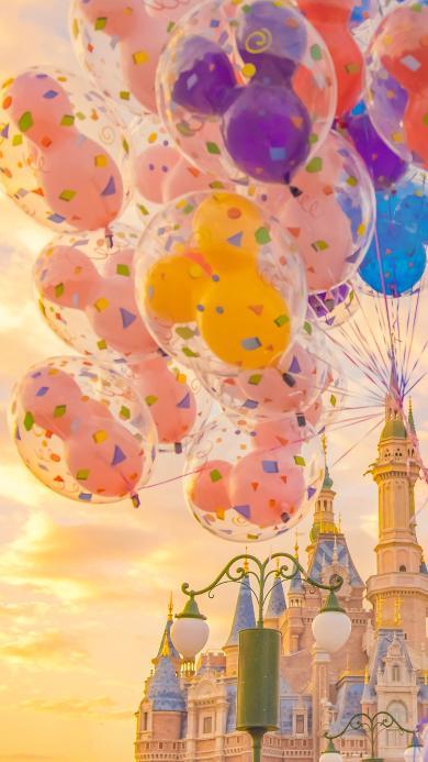 迪士尼 气球 城堡 游乐场