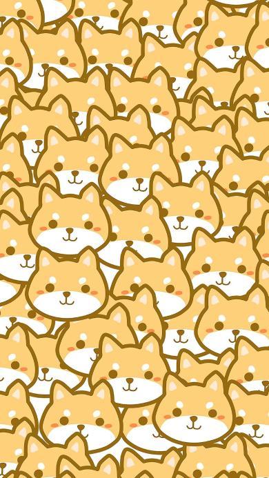 平铺 柴犬 密集 可爱 卡通