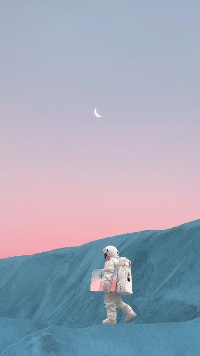 宇航员 太空服 月亮 行走 画