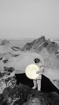 宇航员 月球 太空服 黑白 发光 海边