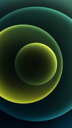 圆形 炫丽 绿色 几何 iPhone12 渐变