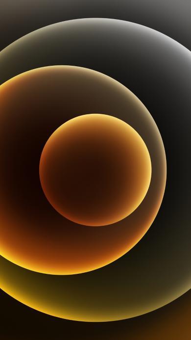 圆形 炫丽 黄色 几何 iPhone12 渐变