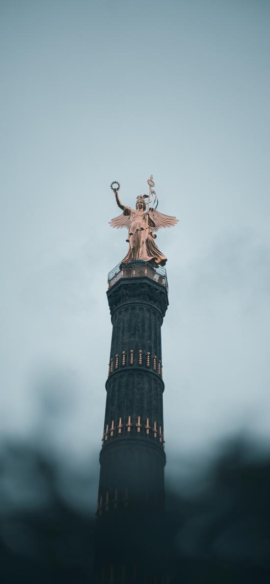德国 柏林 胜利纪念柱 金黄雕像