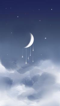 月亮 星空 云朵 月牙 插画
