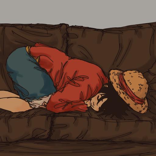 路飞 海贼王 沙发 睡觉 草帽