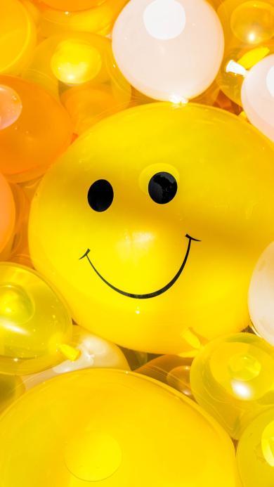 气球 黄色 笑脸 表情 水